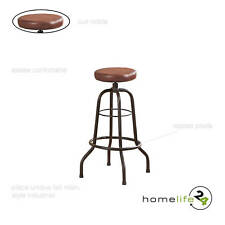 Magnifique tabouret de bar noir métal vintage siège en cuir marron