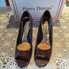 Ladies Pierre Dumas Brown Peep Toe Shoes 8 1/2