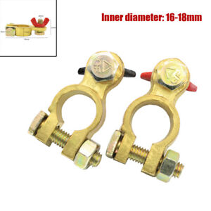 Pair Car Battery Terminal Connector Clamp Clip Negative Positive Pure Copper