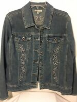 Dressbarn Denim Trucker Blue Jean Jacket Womens Bling Embellished Size XL