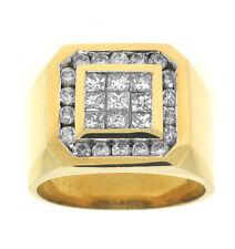 1.90ctw MENS PRINCESS CUT & ROUND DIAMOND RING 18K GOLD