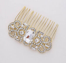 CLEARANCE Art Deco Crystal Rhinestone Goldplate Comb (Sparkle-1882)
