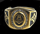 Men's Yellow On Stainless Steel Diamond Simulated Masonic Ring Band Size 8~10