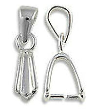 1 STERLING SILVER 925 FLUTED PENDANT PINCH BAIL WITH LOOP, 18 X 6 MM, HOLDER