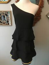 ALICE AND OLIVIA DRESS ONE SHOULDER BLACK SIZE SMALL RUFFLE GREAT CONDITION