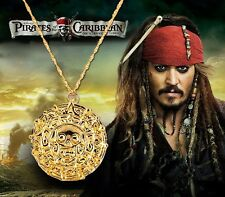 Pirates of the Caribbean Cursed Aztec Gold Coin Medallion Necklace, Disney Prop