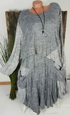 NEU DESIGNER CRASH STRICK KLEID TUNIKA DOUBLE OPTIK LAGENLOOK GRAU 46 48 50