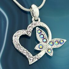 Butterfly Heart W Swarovski Crystal Love Purple New Pendant Necklace Charm Gift