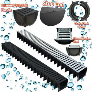 Drainage Channel 1m Steel & Plastic, Corners, Outlet Channel Quadbox & Stopend.