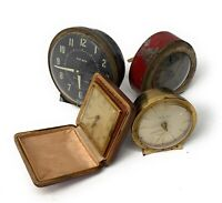 Lot of 4 Vintage Wind Up Clocks Non-Working for Parts/Repair