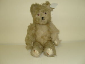 VINTAGE BEAR 40cm  (ENGLISH?) CREAM LONG HAIR BEAR HARD FILLED WITH LEATHER PADS