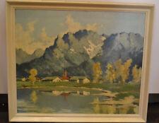 Ölbild, Landschaft mit Bergen und See, sign. J. Schneider, etwa 1930