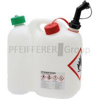 Doppelkanister 5,5 Liter / 3 Liter mit Stutzen weiß Benzinkanister tranparent