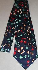 Lot's Of Musical Notes On A New Navy Blue Polyester Neck Tie! #89 Free Shipping