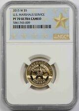 2015-W U.S. Marshals Service $5 NGC PF 70 Ultra Cameo Gold Modern Commemorative