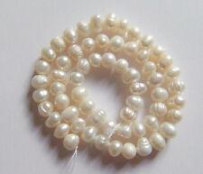 1filo /36cm perle bianche coltivate acqua dolce a forma pomodoro 5-6mm