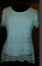 Lace Regular Size Short Sleeve Tops for Women