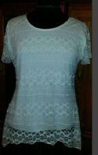 Lace Short Sleeve Regular Size Tops & Blouses for Women