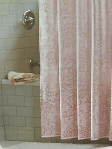 Threshold Coral White Floral Fabric Shower Curtain 72x72 New Beach Spring