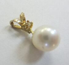 14KT Yellow Gold Petite Diamond Above Pearl Pedant