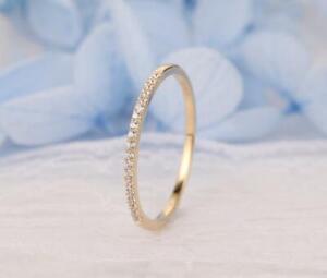 0.77ct Women 14k Yellow Gold FN Vintage Wedding Band Diamond Ring Size J M N O P