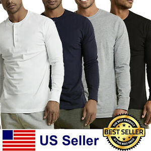 New Mens Henley Shirt T-shirts shirts Long Sleeve Cotton Pullover Comfy Button