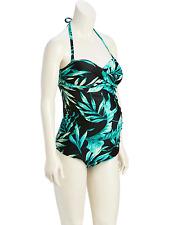 Old Navy Women's Palm Leaf Maternity Twist Bandeau Swim Top & Black Bottom M NWT