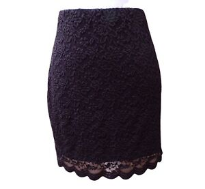 Lipsy Black Lace Skirt Size 16 Elasticated Waist Fully Lined