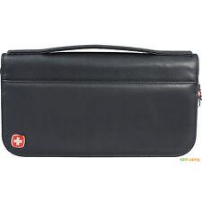 New Black Zip Organizer Wenger® Leather Business Travel Passport ID Wallet