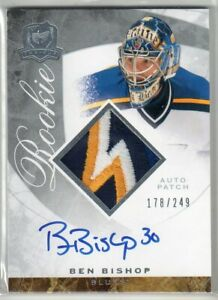 2008/09 BEN BISHOP CUP ROOKIE AUTO PATCH #178/249 4CLRS TOP PATCH ST LOUIS!   rb