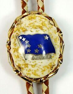 Alaska Flag Vintage Bolo Tie Lucite Cabochon Golden Flakes