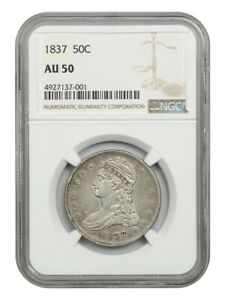 1837 50c NGC AU50 (Reeded Edge) Great Type Coin - Bust Half Dollar