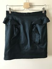 Topshop Mini Skirt, High Waisted, Dark Green Satin Look, Ruffle Detail, UK 12
