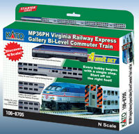 Kato 106-8705 N Scale MP36PH Virgina Railway Gallery Bi-Level Commuter Train Set