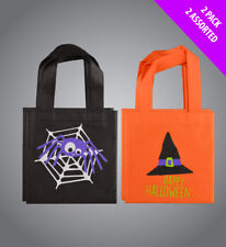 4 x Halloween Fabric Tote Favour Bags Assorted Colours Great Trick or Treat Bags