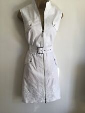 KAREN MILLEN GREAT WHITE STYLISH EMBROIDERED ZIPED DRESS UK 16