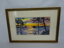 Julius Milford Ellison Listed CA. Artist ~ California Coastal Sunset Watercolor