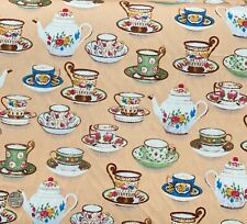 100% Cotton Poplin Fabric By Fabric Freedom Afternoon Tea Teapot Cups & Saucers