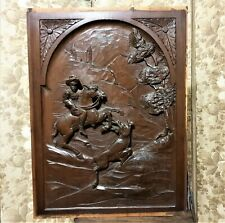 Architectural salvage hunting scene panel Antique french gothic deer carving