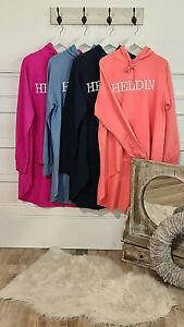Damen Sweater Hoodiepullover langes Sweatshirt Aufdruck Heldin Kapuze Longshirt