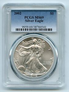 2002 $1 American Silver Eagle Dollar PCGS MS69