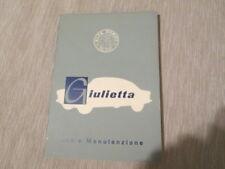 Libretto di uso e manutenzione Alfa Romeo Giulietta sprint berlina edizione 1958