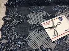 Mesh lace fabric Bridal Wedding navy Metallic Sequins - Scalops. By The Yard