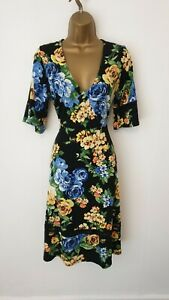 V By Very Size 12 Black Floral Print Smart Casual Party Occasion Formal Dress