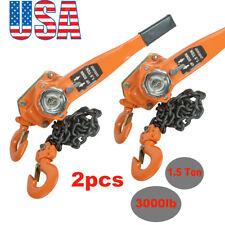 【2PCS】 Chain Lever Block Hoist Come Along Ratchet Lift 1.5 Ton 3000lb Capacity