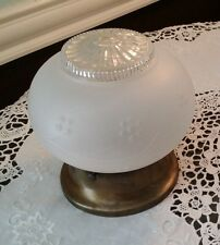 Antique Ceiling Light Fixture 1 Light White Frost Glass With Raised Grape Design