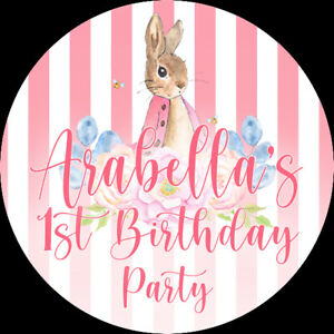 24 Personalised Stickers For Party/Sweet Cone Bags Pink Flopsy Peter Rabbit