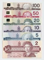 1986-91 Bank of Canada Bird Series 2-5-10-20-50-100 Notes - EF