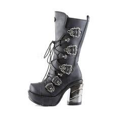 "Demonia 3.5"" Platform Block Heel Chromed ABS Buckle Calf Boots Cyber Goth 6-12"