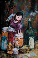 LITTLE ANGEL AT HOME IN PANTRY Modern Russian postcard by N.Chakvetadze
